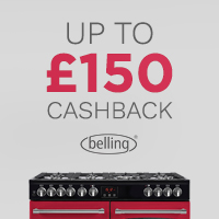 Get up to £150 cashback when you buy a Belling Cookcentre or Farmhouse range cooker