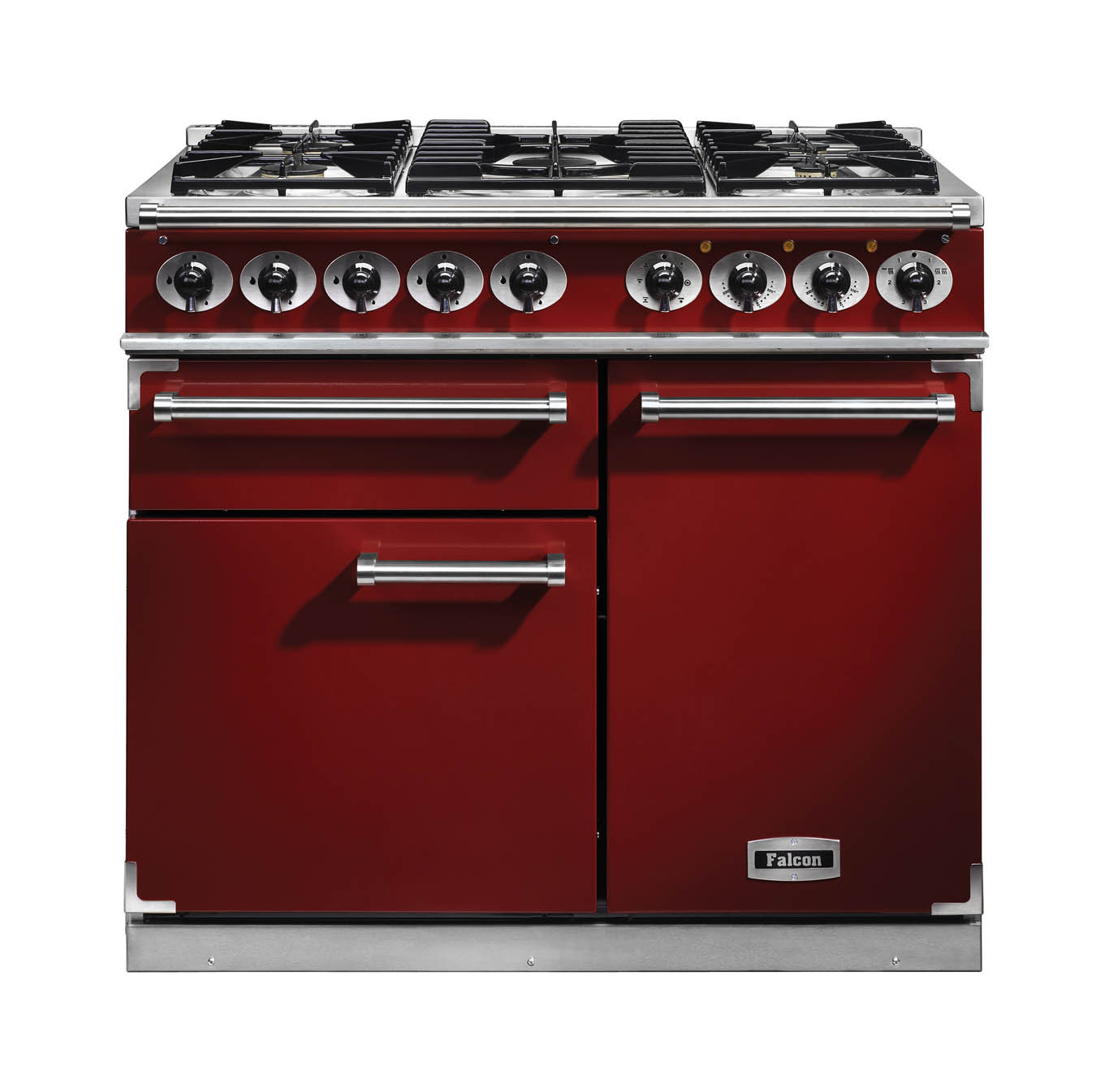 Falcon 1000 Deluxe Dual Fuel Cherry Red Range Cooker with Matt Pan Supports