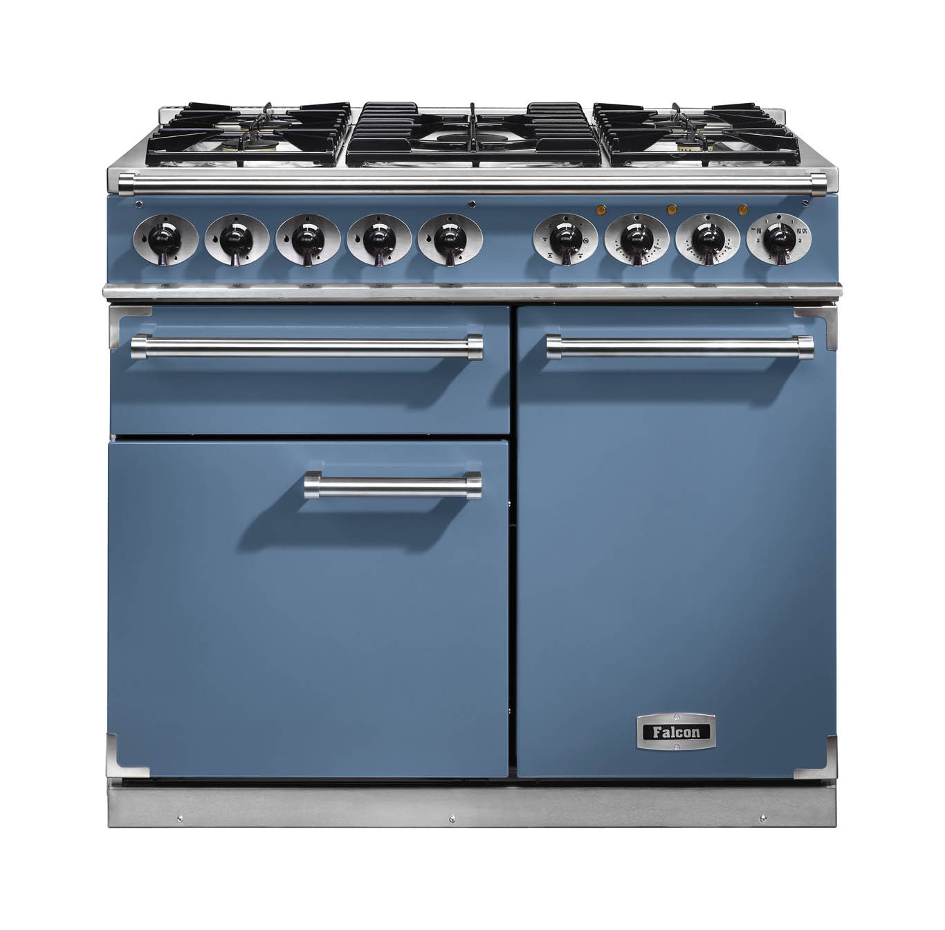 Falcon 1000 Deluxe Dual Fuel China Blue Range Cooker with Matt Pan Supports