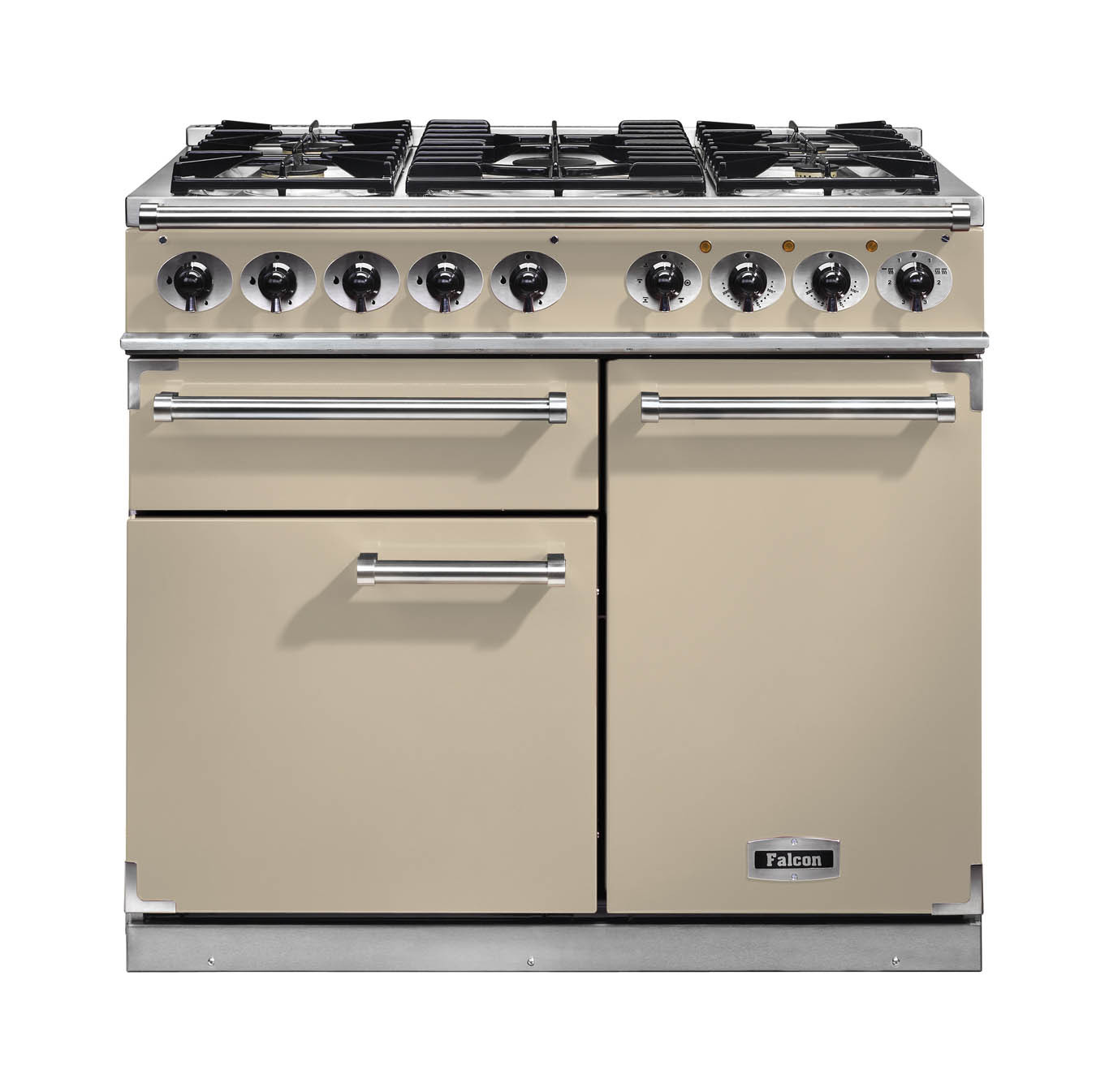 Falcon 1000 Deluxe Dual Fuel Cream Range Cooker with Matt Pan Supports