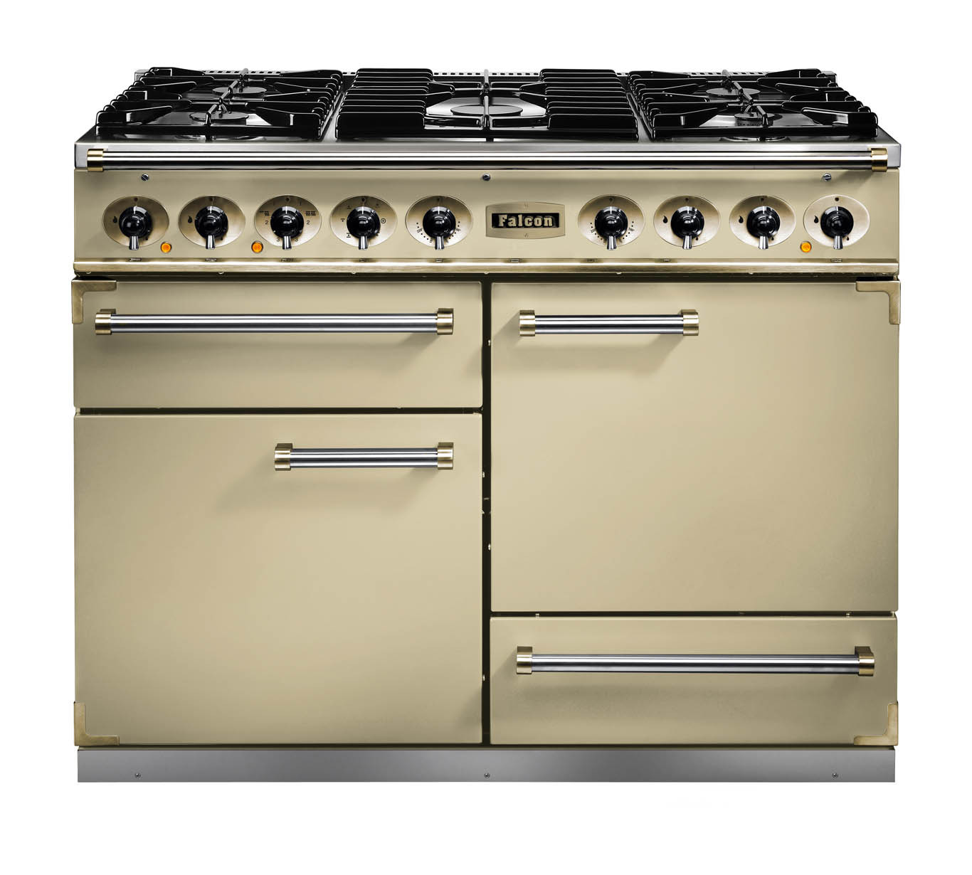 Falcon 1092 Deluxe Dual Fuel Cream/Brass Range Cooker with Matt Pan Supports
