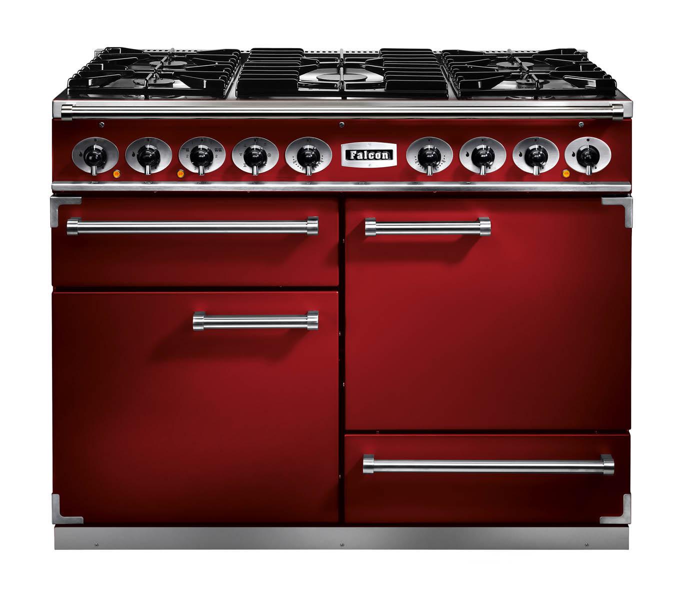 Falcon 1092 Deluxe Dual Fuel Cherry Red/Nickel Range Cooker