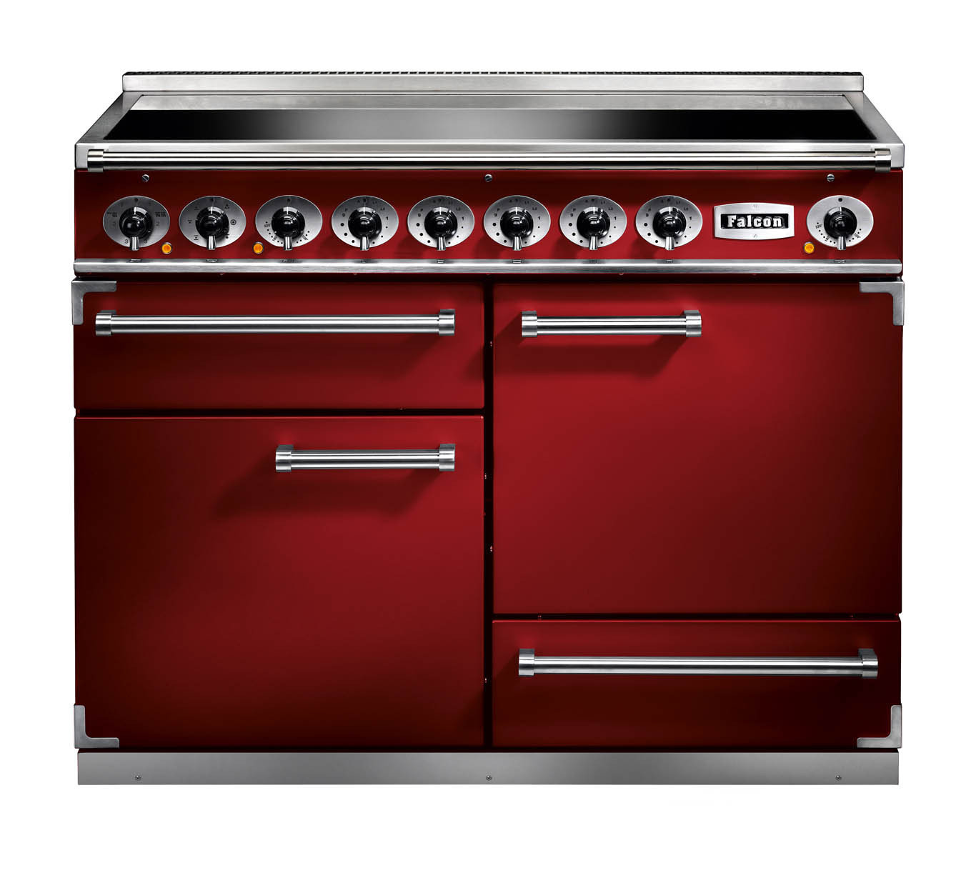 Falcon 1092 Deluxe Induction Cherry Red/Nickel Range Cooker