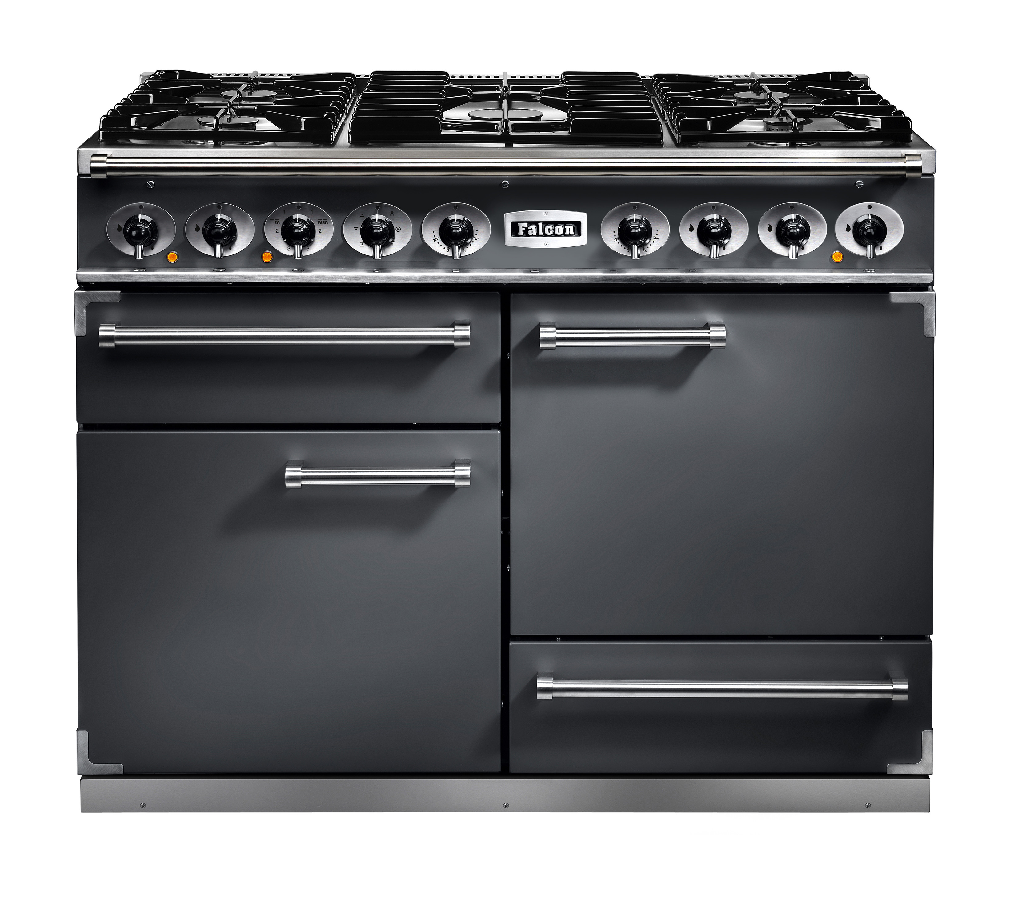 Falcon 1092 Deluxe Dual Fuel Slate/ChromeRange Cooker with Matt Pan Supports
