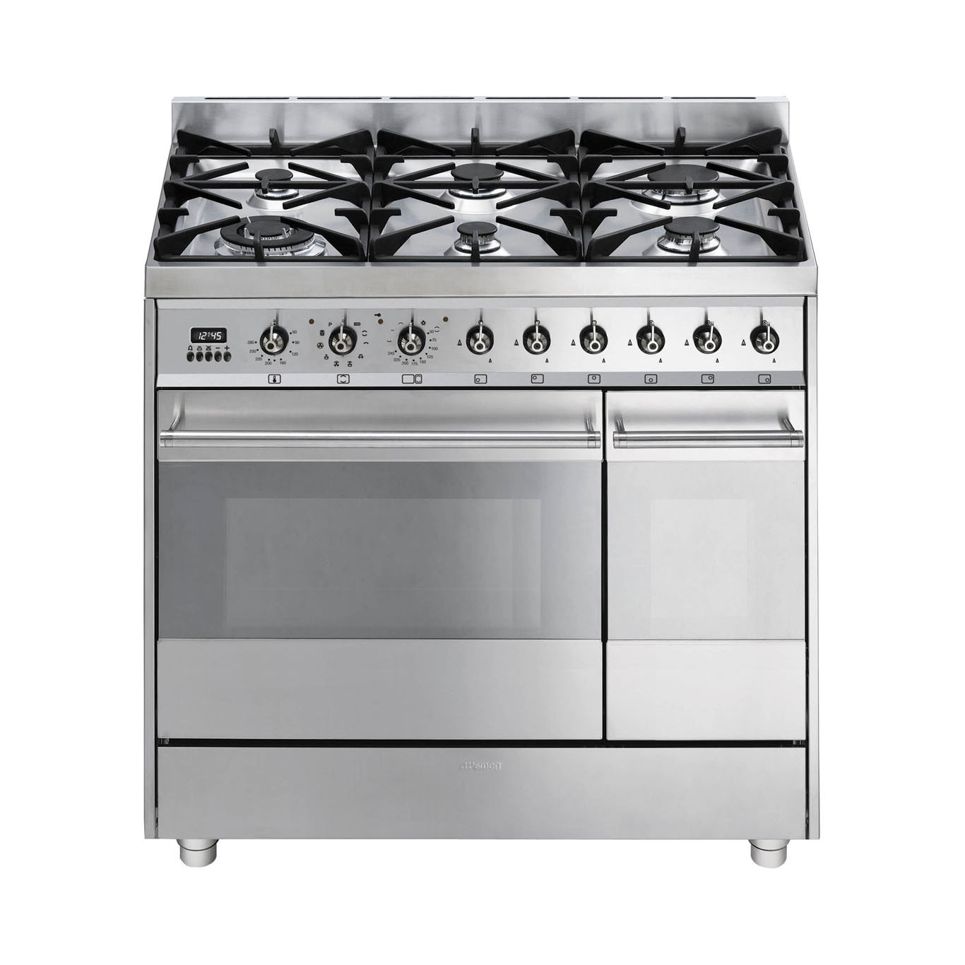 Smeg Symphony 90 Dual Fuel Pyrolytic Stainless Steel Range Cooker