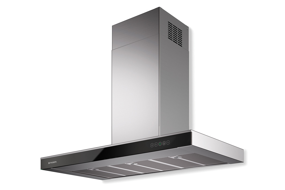 Faber Onyx-T 90cm Stainless Steel / Black Glass Wall Hood