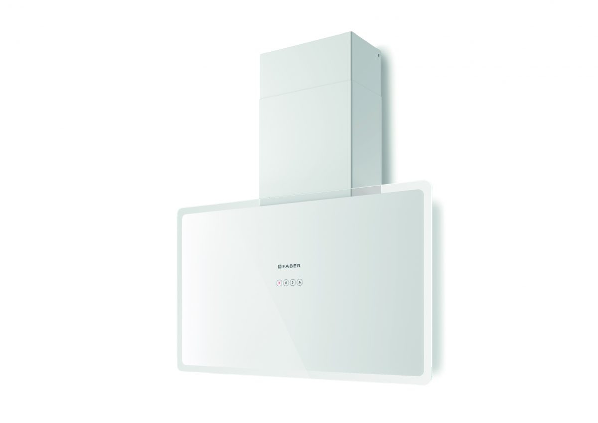 Faber Glam Fit 80cm White Glass Wall Hood