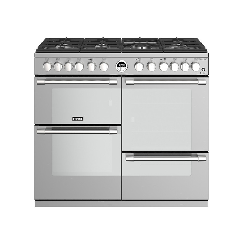 Stoves Sterling S1000DF Dual Fuel Stainless Steel 100 Range Cooker 444444492