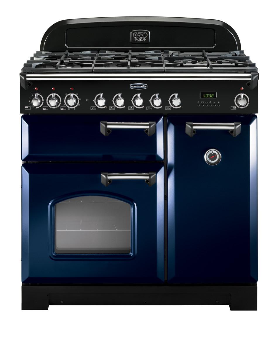 Rangemaster Classic Deluxe 90 Dual Fuel Regal Blue/Chrome Trim Range Cooker CDL90DFFRB/C 113530