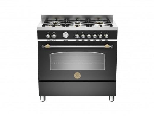 Bertazzoni Heritage 90 Single Oven Dual Fuel Matt Black Range Cooker HER90-6-MFE-S-NET