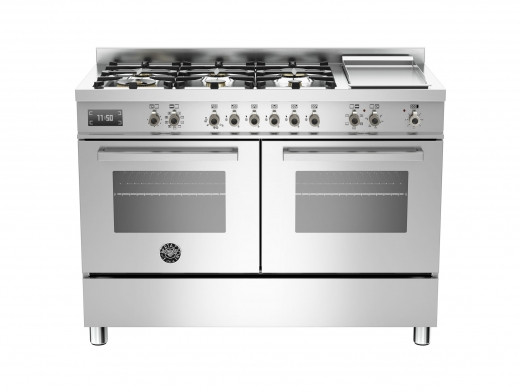 Bertazzoni Professional 120 Double Oven Dual Fuel Stainless Steel Range Cooker PRO120-6G-MFE-D-XT