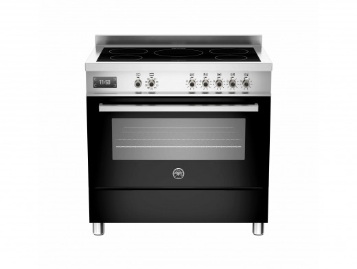 Bertazzoni Professional 90 Single Oven Induction Black Range Cooker PRO90-5I-MFE-S-NET