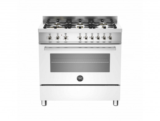 Bertazzoni Professional 90 Single Oven Dual Energy White Range Cooker PRO90-6-HYB-S-BIT