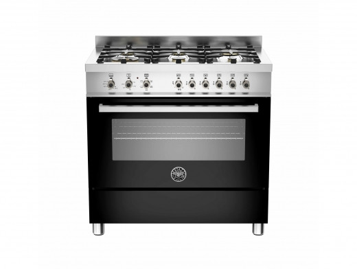 Bertazzoni Professional 90 Single Oven Dual Energy Black Range Cooker PRO90-6-HYB-S-NET