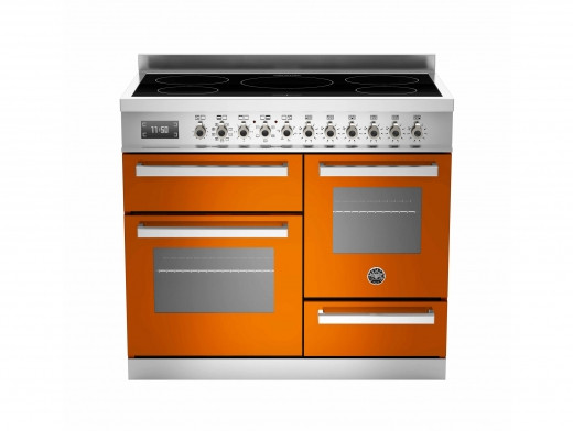 Bertazzoni Professional 100 Triple Cavity Induction Orange Range Cooker PRO100-5I-MFE-T-ART