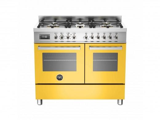 Bertazzoni Professional 100 Double Oven Dual Fuel Yellow Range Cooker PRO100-6-MFE-D-GIT