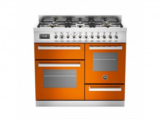Bertazzoni Professional 100 Triple Cavity Dual Fuel Orange Range Cooker PRO100-6-MFE-T-ART