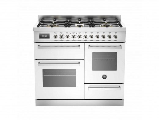 Bertazzoni Professional 100 Triple Cavity Dual Fuel White Range Cooker PRO100-6-MFE-T-BIT