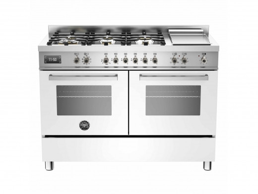 Bertazzoni Professional 120 Double Oven Dual Fuel White Range Cooker PRO120-6G-MFE-D-BIT