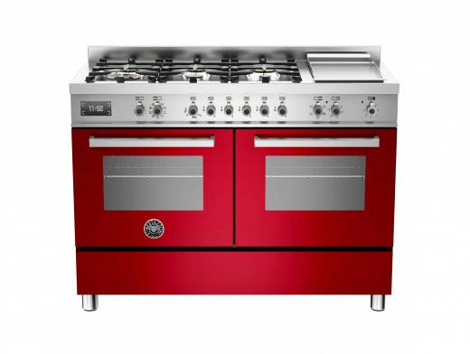Bertazzoni Professional 120 Double Oven Dual Fuel Red Range Cooker PRO120-6G-MFE-D-ROT
