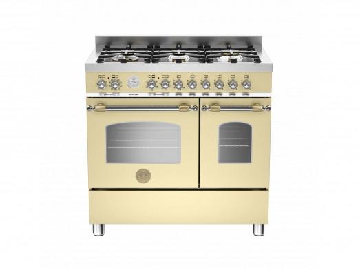 Bertazzoni Heritage 90 Double Oven Dual Fuel Cream Range Cooker HER90-6-MFE-D-CRT