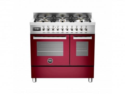 Bertazzoni Professional 90 Double Oven Dual Fuel Burgundy Range Cooker PRO90-6-MFE-D-VIT