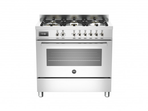 Bertazzoni Professional 90 Single Oven Dual Fuel Stainless Steel Range Cooker PRO90-6-MFE-S-XT