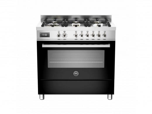 Bertazzoni Professional 90 Single Oven Dual Fuel Black Range Cooker PRO90-6-MFE-S-NET