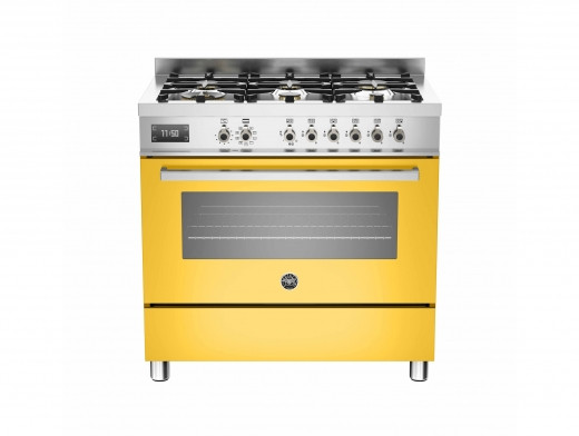 Bertazzoni Professional 90 Single Oven Dual Fuel Yellow Range Cooker PRO90-6-MFE-S-GIT