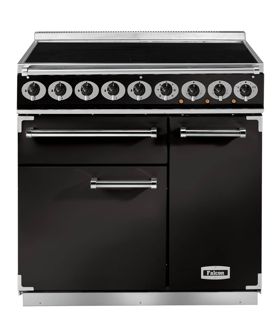 Falcon Deluxe 900 Induction Black/Brass Range Cooker