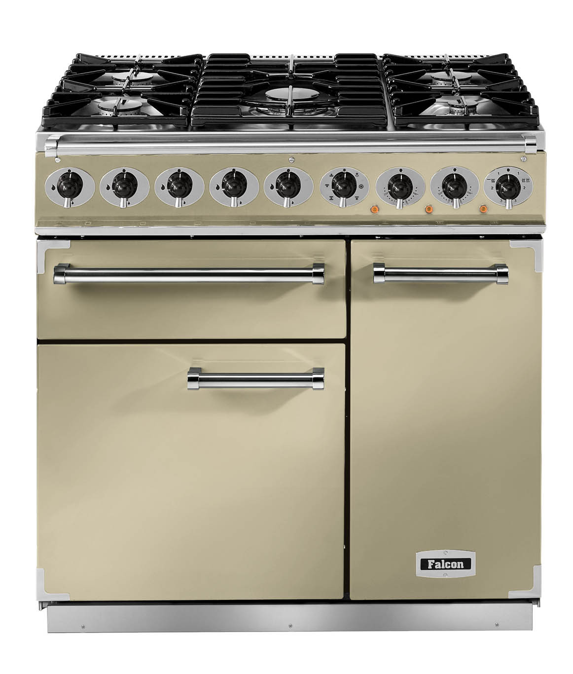Falcon Deluxe 900 Dual Fuel Cream/Chrome Range Cooker with Matt Pan Supports
