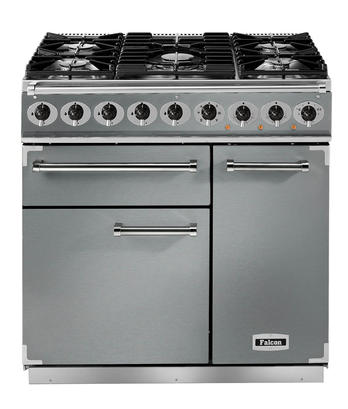 Falcon Deluxe 900 Dual Fuel Stainless Steel/Chrome Range Cooker with Matt Pan Supports