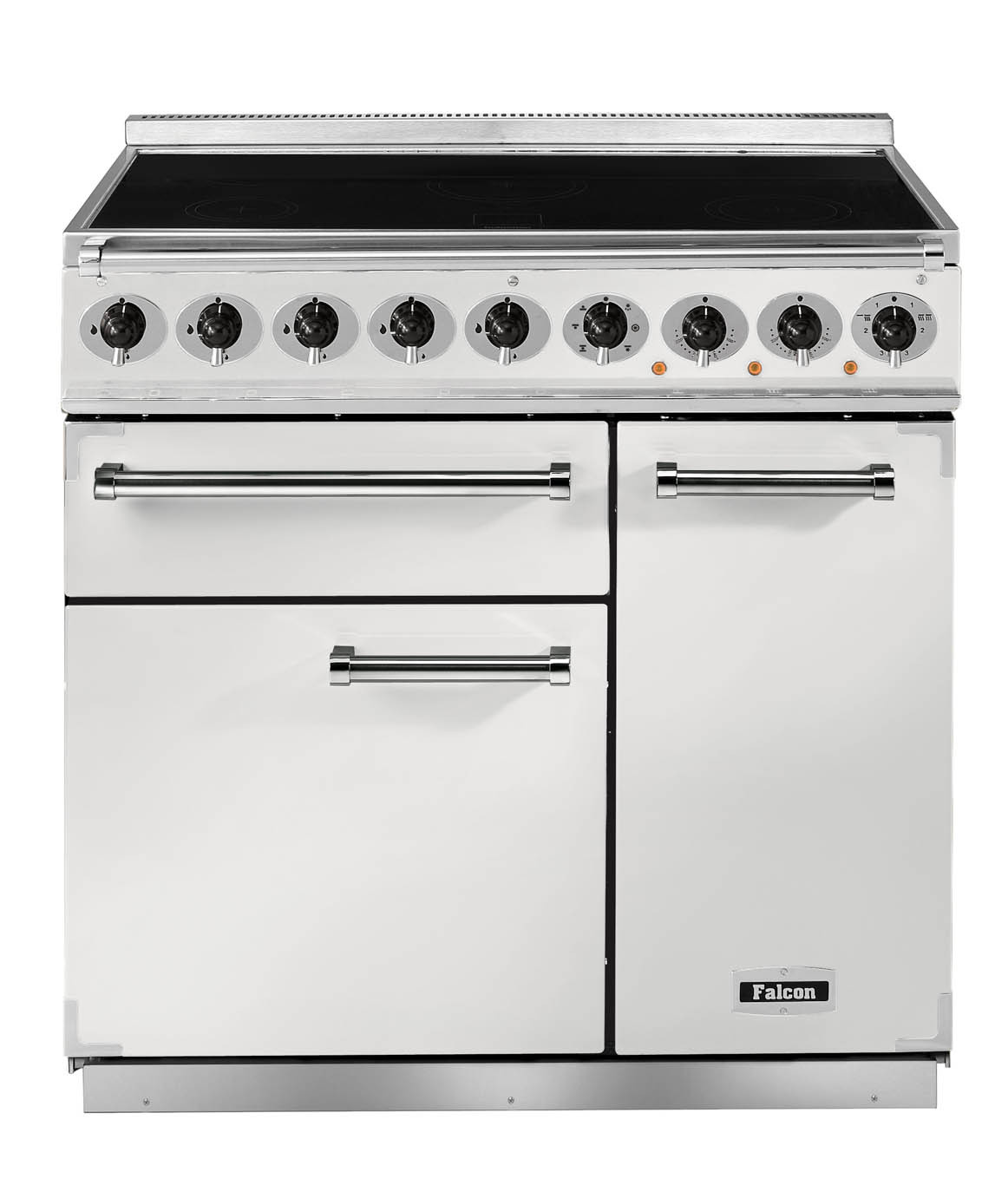Falcon Deluxe 900 Induction Ice White/Nickel Range Cooker