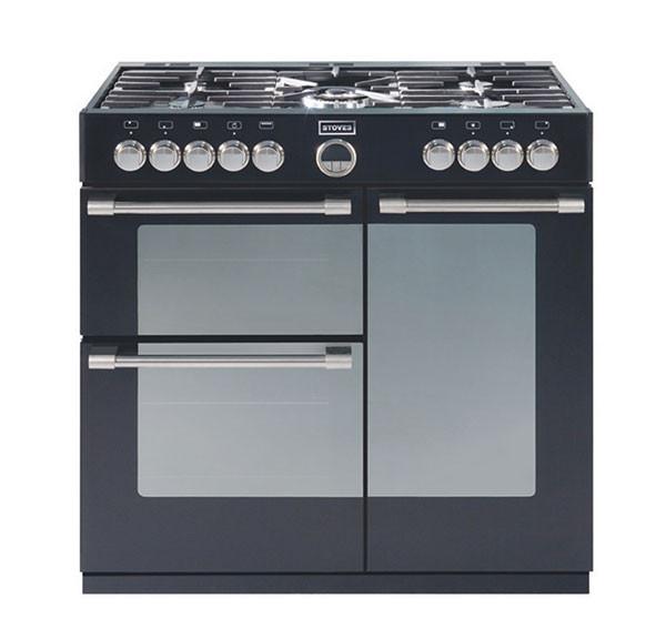 Stoves Sterling 900DFT Black 90 Dual Fuel Range Cooker