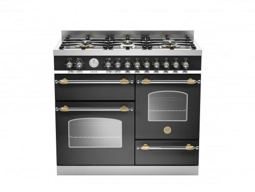 Bertazzoni Heritage 100 Triple Cavity Dual Fuel Matt Black Range Cooker HER100-6-MFE-T-NET