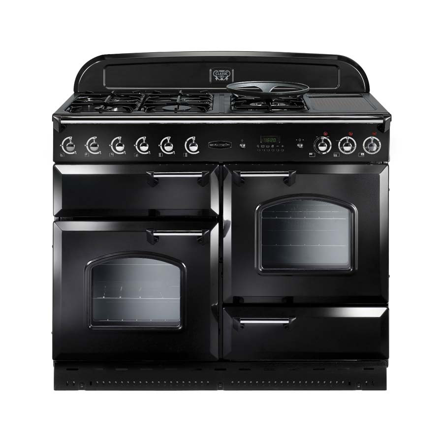 Rangemaster Classic 110 Natural Gas Range Cooker Black/Chrome 73650