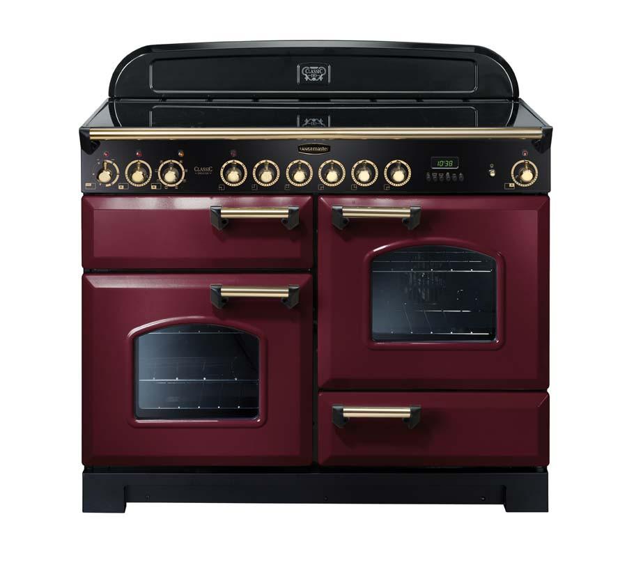 Rangemaster Classic Deluxe 110 Ceramic Range Cooker Cranberry/Brass Trim CDL110ECCY/B 84450