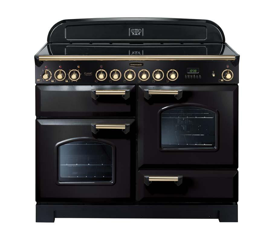 Rangemaster Classic Deluxe 110 Ceramic Range Cooker Black/Brass Trim CDL110ECBL/B 81340