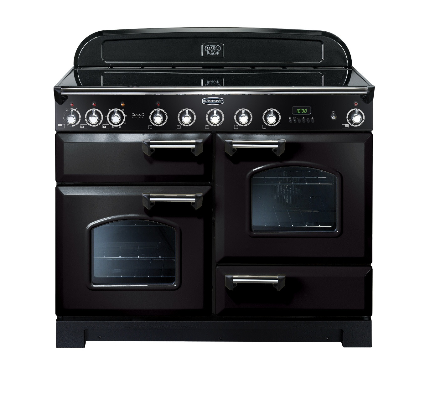 Rangemaster Classic Deluxe 110 Ceramic Range Cooker Black/Chrome Trim CDL110ECBL/C 81320