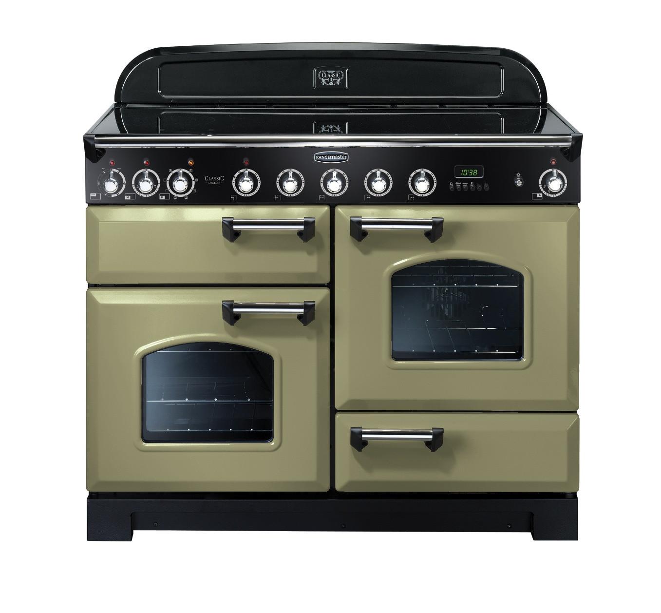 Rangemaster Classic Deluxe 110 Ceramic Range Cooker Olive Green/Chrome 100940
