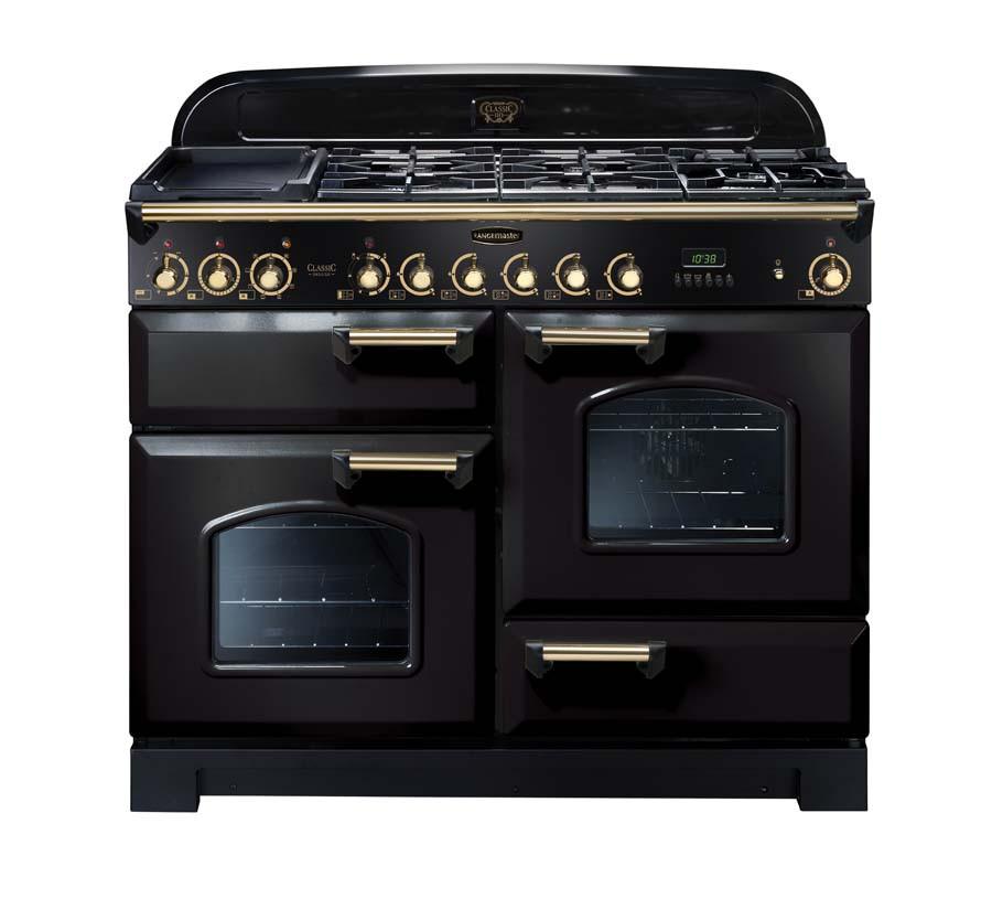 Rangemaster Classic Deluxe 110 Dual Fuel Range Cooker Black/Brass 79800