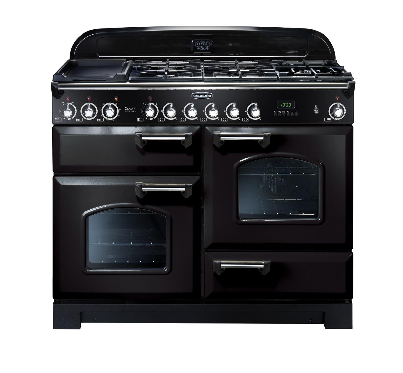 Rangemaster Classic Deluxe 110 Dual Fuel Range Cooker Black/Chrome Trim CDL110DFFBL/C 79780