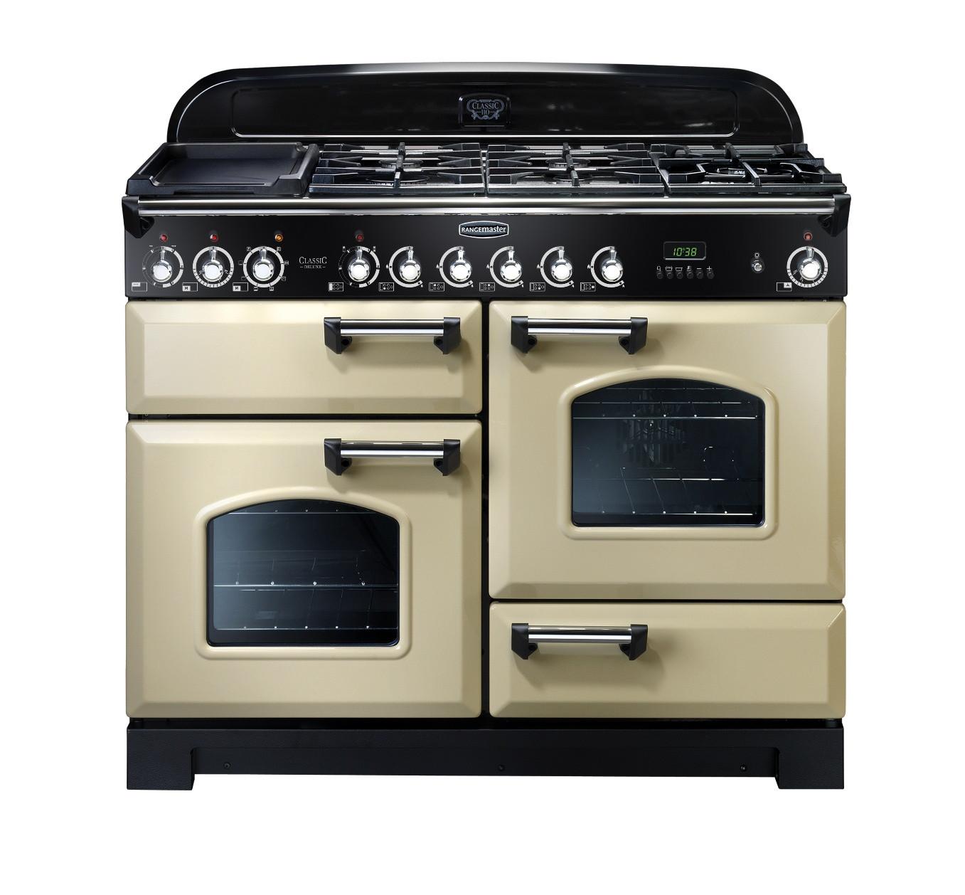 Rangemaster Classic Deluxe 110 Dual Fuel Range Cooker Cream/Chrome Trim CDL110DFFCR/C 79790