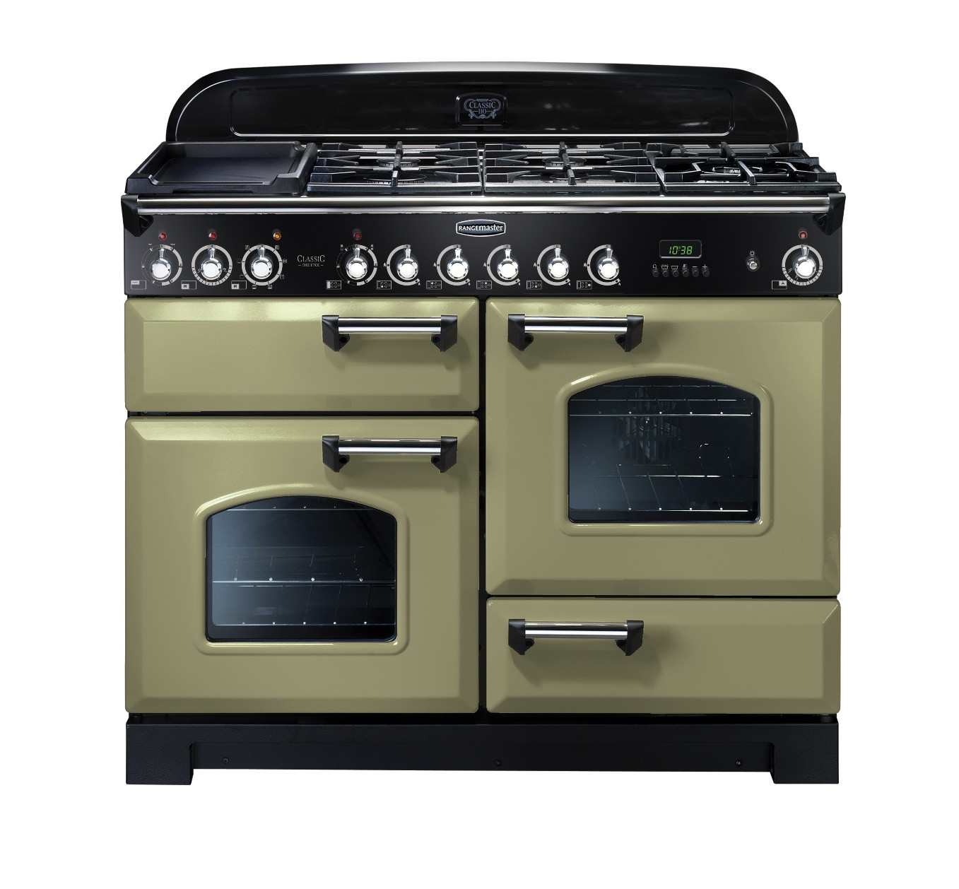 Rangemaster Classic Deluxe 110 Dual Fuel Range Cooker Olive Green/Chrome Trim CDL110DFFOG/C 100930
