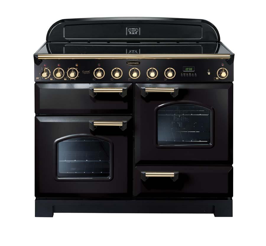 Rangemaster Classic Deluxe 110 Induction Range Cooker Black/Brass 90430