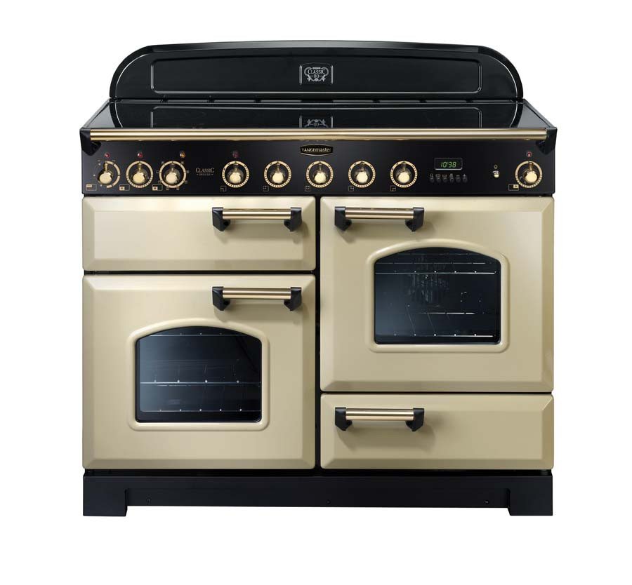 Rangemaster Classic Deluxe 110 Induction Range Cooker Cream/Brass Trim CDL110EICR/B 90440