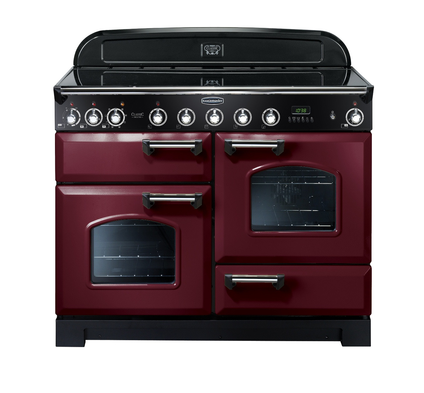 Rangemaster Classic Deluxe 110 Induction Range Cooker Cranberry/Chrome Trim CDL110EICY/C 90400