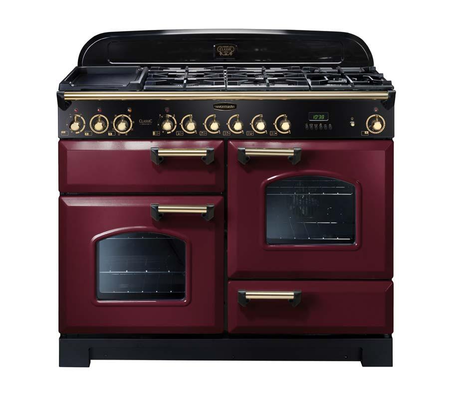 Rangemaster Classic Deluxe 110 Dual Fuel Range Cooker Cranberry/Brass 84430