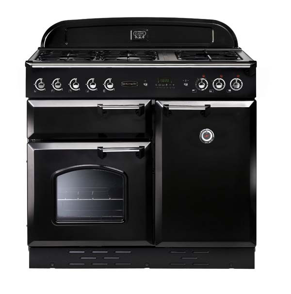 Rangemaster Classic 100 Dual Fuel Black/Chrome Range Cooker 10701