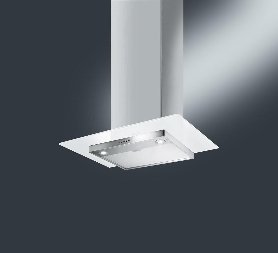 Smeg KFV62DBE 60 White Glass Chimney Hood
